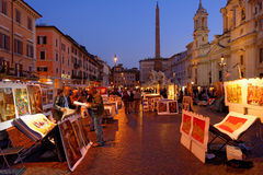 Artists in Piazza Navona, Rome, Italy. Artists selling original works in Piazza Navona at night in Rome, Italy stock images