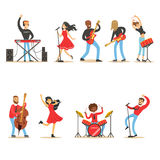 Artists Playing Music Instruments And Singing On Stage Concert Set Of Musicians Cartoon Vector Characters Royalty Free Stock Photos