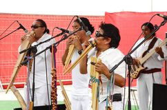 Artists playing pan pipe and guitar at Formula 1 village Bahrain 2013 Stock Photography