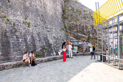 Artists on the promenade of Budva in Montenegro royalty free stock image