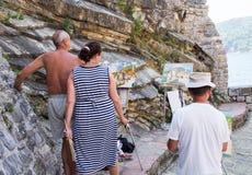Artists on the promenade of Budva, Montenegro Stock Photo