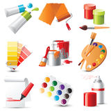 Artists supplies. 9 highly detailed artists supplies icons Royalty Free Stock Photo