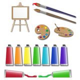 Artists supplies icons. Painter tools, equipment Royalty Free Stock Photos