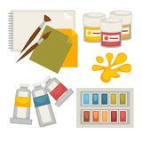 Artists supplies set in colors on white vector poster. Artists supplies collection in colors on white vector poster. Illustration of close up palette, paints in royalty free illustration
