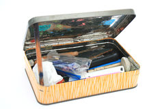 Artists tool box isolated. An isolated image of an artists toolbox filled with creative utensils Stock Image