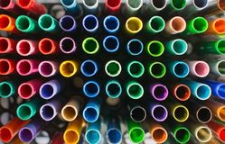 Artists tools coloring pens in many shades. Seen from above stock photos