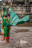 Artists wear traditional costume in Angkor temple,Siemriep, Camb Royalty Free Stock Photo