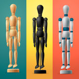 Artists wooden dummy on colorful background Stock Images