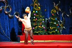 Artists of Yuri Nikulin Moscow Circus. 07.01.2013, city of Orenburg, Southern Ural, Russia Stock Photo