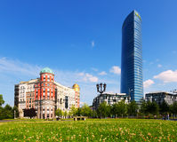 Artklass building and Iberdrola Tower  in Bilbao Royalty Free Stock Images