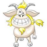 artoon滑稽的山羊微笑向量 库存照片