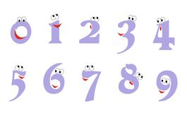 Artoon απεικόνιση Ð ¡ των αριθμών από μηδέν έως εννέα με τα μάτια και ένα χαμόγελο Το εικονίδιο έθεσε για τον υπολογισμό της εκπα απεικόνιση αποθεμάτων