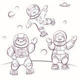 ; artoon αστροναύτες στο μακρινό διάστημα, διανυσματική απεικόνιση για το χρωματισμό Στοκ Φωτογραφίες