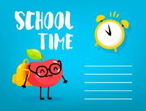 Artoon μαθητής μήλων Ð ¡ με το σακίδιο πλάτης και ξυπνητήρι στο μπλε υπόβαθρο πίσω σχολείο καρτών διάνυσμα απεικόνιση αποθεμάτων