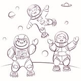 ?artoon astronauts in outer space, vector illustration for colouring. Simply editable image Stock Photos