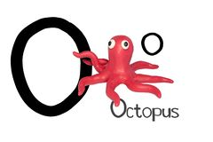 Artoon Characters, Octopus Isolated On White Background Royalty Free Stock Photography