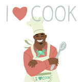 Сartoon flat greeting card banner with chef. Vector cartoon cute illustration greeting card banner with chef.For ui, web games, tablets, wallpapers, and Royalty Free Stock Images