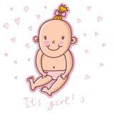Artoon girl. Beautiful child - cartoon girl in Royalty Free Stock Photo