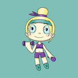 Сartoon girl in anime style on a blue background Royalty Free Stock Photography
