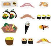 Artoon Japanese food icon set. Drawing Royalty Free Stock Photos
