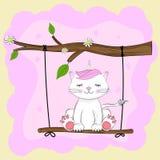 ?artoon lovely kitty unicorn sits on a swing. royalty free illustration