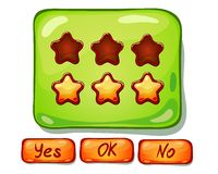 Ð¡artoon panels for game UI. Ð¡artoon panels for game UI, including yes/no and Ok buttons stock illustration