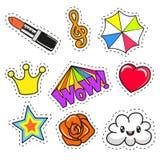 Сartoon patch badges Stock Image