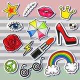 Сartoon patch badges Stock Photography