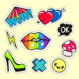 Сartoon patch badges Stock Images