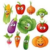 Artoon plantaardige karakters Plantaardige emoticons Komkommer, tomaat, broccoli, aubergine, kool, peper, wortelen, uien, pompoen stock illustratie