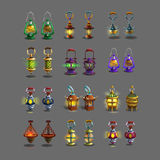 ?artoon set colorful ancient lamps for fantasy games. Royalty Free Stock Images
