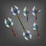?artoon set of colorful axes for fantasy games. Royalty Free Stock Photo
