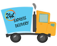 Artoon vector illustration express delivery truck with  24 hours text Royalty Free Stock Photos