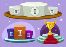 Artoon winners podium. Cartoon winners podium. Winner cup. Vector set Stock Photo