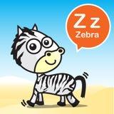 Artoon y alfabeto del color de la cebra de Z para los niños a aprender vecto stock de ilustración