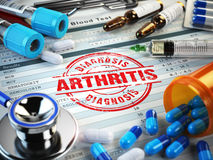 Artritdiagnos Stämpel stetoskop, injektionsspruta, blodprov och Royaltyfri Fotografi