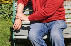 Artrite, polsi dolorosi Sforzo ripetitivo fotografia stock