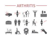 artrite Sintomi, trattamento Icone impostate Segni di vettore illustrazione di stock