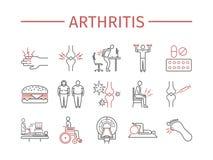 artrite Sintomi, trattamento Linea icone messe Segni di vettore illustrazione di stock