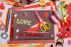 Arts And Craft Supplies For Saint Valentine S. Stock Photos