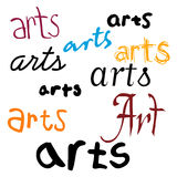 Arts Background. An illustrated background with the word 'arts' in different designs and fonts, isolated on a white background Stock Images