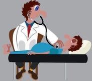 Arts Checking op zieke Patiënt royalty-vrije illustratie