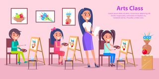 Arts Class at Elementary School Vector Poster Stock Images