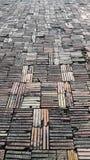 Arts of clay bricks floor Royalty Free Stock Photo