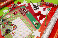 Arts and craft supplies for Christmas. Stock Images