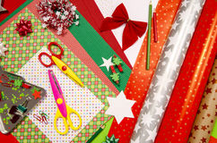 Arts and craft supplies for Christmas. Stock Photos