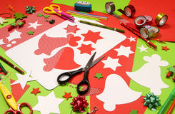 Arts and craft supplies for Christmas. Royalty Free Stock Photography