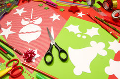 Arts and craft supplies for Christmas. Royalty Free Stock Image