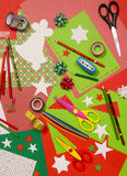 Arts and craft supplies for Christmas. Royalty Free Stock Photo