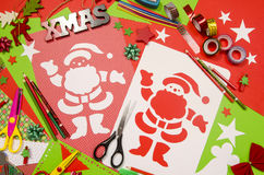 Arts and craft supplies for Christmas. Stock Image